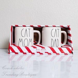 Rae Dunn Cat Mom Cat Dad Pet Parents mug set